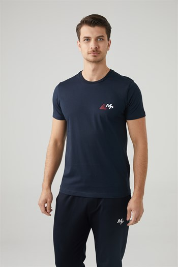 Mp MenS Bicycle Collar Navy Blue T-Shirt Textile 201-5011MR 300