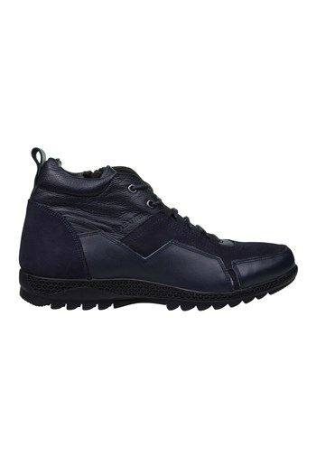 Mp Mens Leather Lace-Up Navy Blue Boots Shoes 202-4101MR 300
