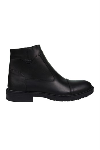 Mp Mens Leather Side Zipper Black Boots Shoes 202-4086MR 100