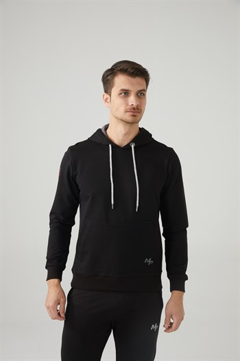 Mp MenS Hooded Black Sweatshirt Textile 201-5001MR 100