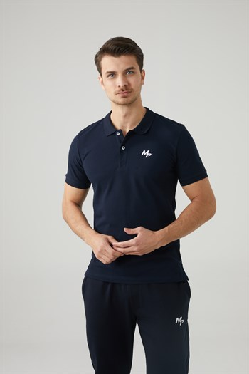Mp MenS Polo Neck Navy Blue T-Shirt Textile 201-5005MR 300