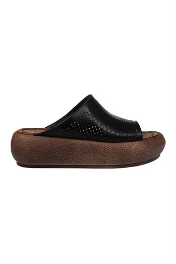 Mp Women Leather Black Slippers L Shoes 211-4351ZN 100